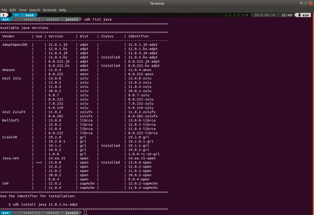 Installing JDK Using sdkman