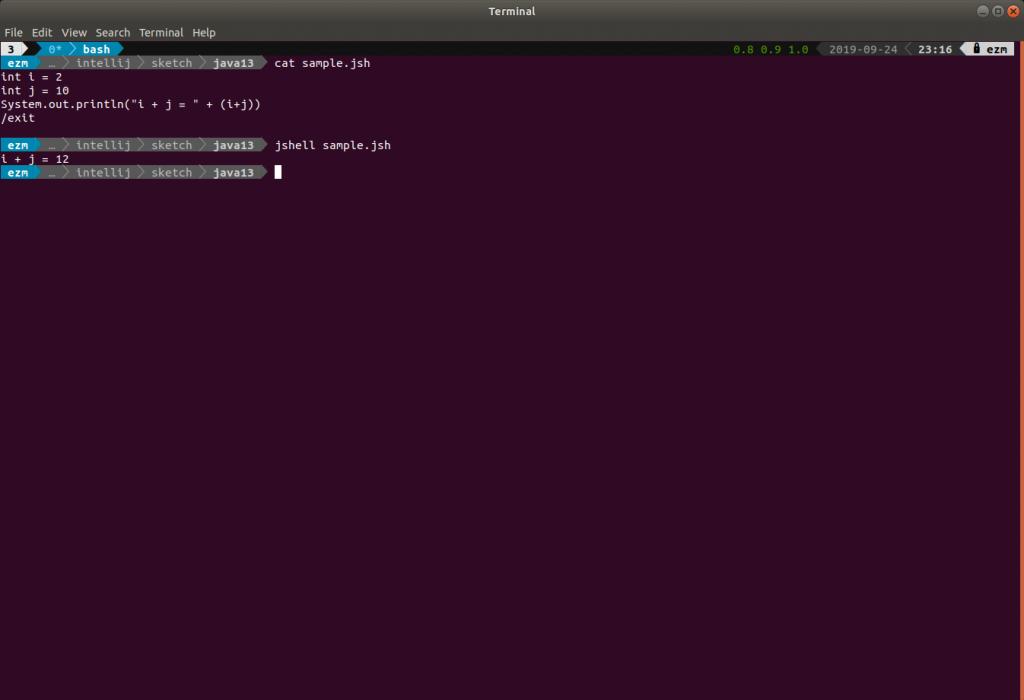 Running a sample jsh file using jshell